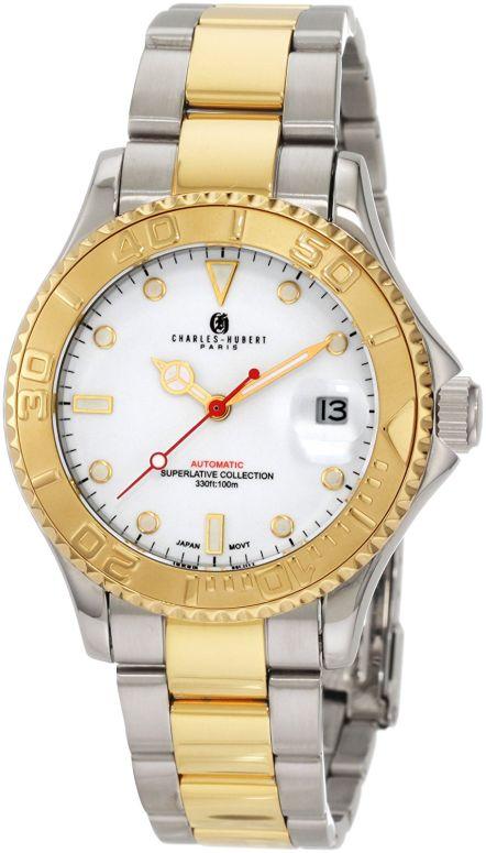チャールズヒューバート Charles-Hubert, Paris 男性用 腕時計 メンズ ウォッチ ホワイト 3514-W 送料無料 【並行輸入品】