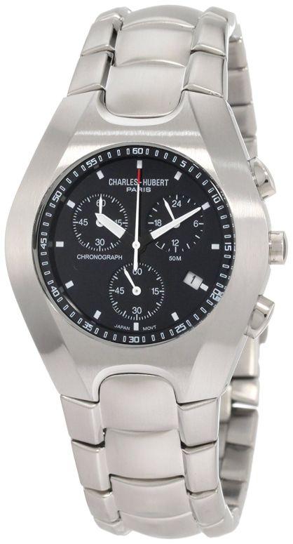 チャールズヒューバート Charles-Hubert, Paris 男性用 腕時計 メンズ ウォッチ クロノグラフ ブラック 3573-B 送料無料 【並行輸入品】