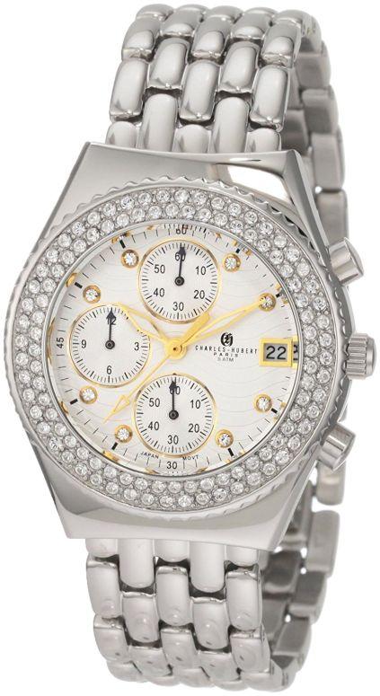 チャールズヒューバート Charles-Hubert, Paris 女性用 腕時計 レディース ウォッチ クロノグラフ ホワイト 6619-WGM 送料無料 【並行輸入品】
