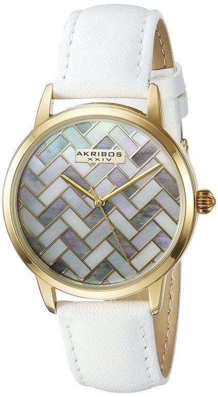 アクリボス Akribos XXIV 女性用 腕時計 レディース ウォッチ パール AK906WTG 送料無料 【並行輸入品】