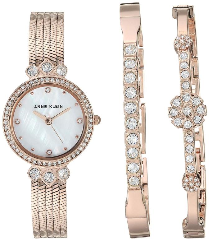 アンクライン Anne Klein 女性用 腕時計 レディース ウォッチ パール AK/3202RGST 女性らしいデザイン かわいい 送料無料 【並行輸入品】