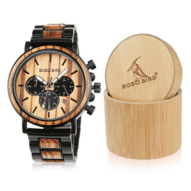 ボボバード BOBO BIRD ウッドウォッチ 木製腕時計 男性用 腕時計 メンズ ウォッチ クロノグラフ ブラック WP09-1 送料無料 【並行輸入品】