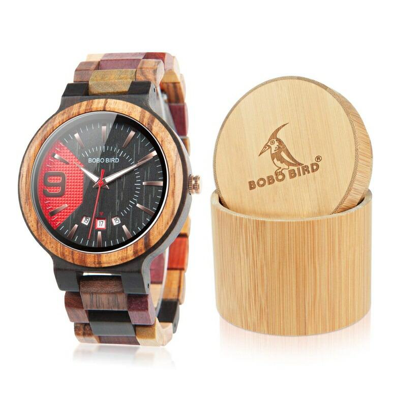 ボボバード BOBO BIRD ウッドウォッチ 木製腕時計 男性用 腕時計 メンズ ウォッチ ブラック レッド Q13-1 送料無料 【並行輸入品】