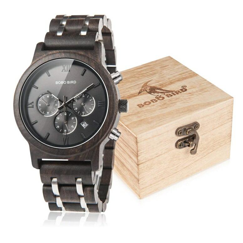 ボボバード BOBO BIRD ウッドウォッチ 木製腕時計 男性用 腕時計 メンズ ウォッチ クロノグラフ ブラック WP19-1 送料無料 【並行輸入品】