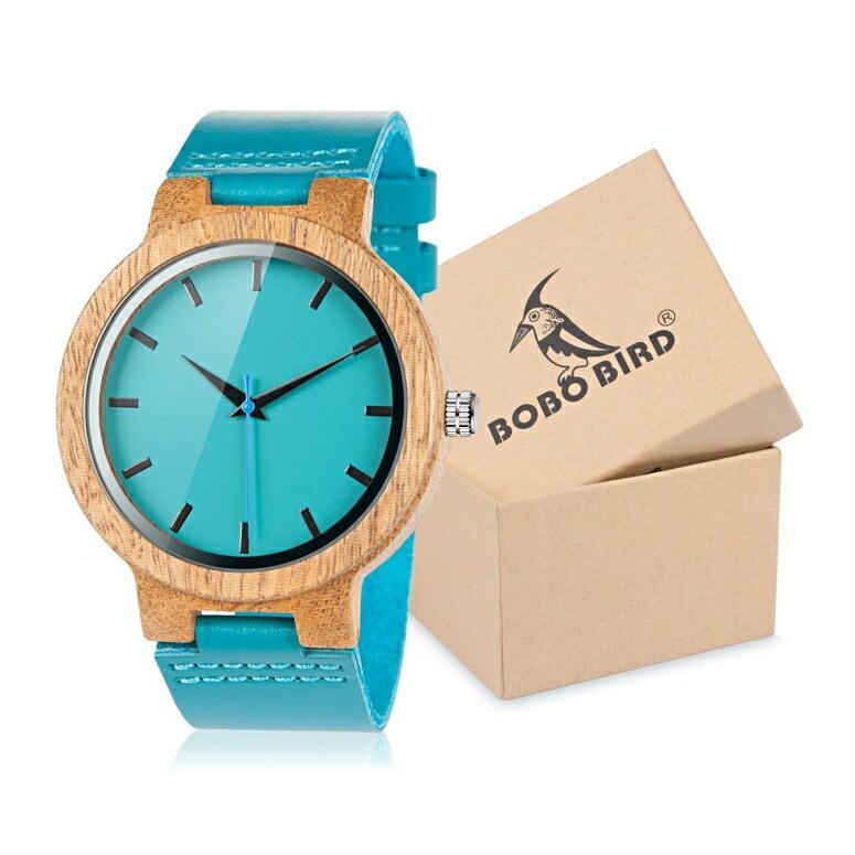 ボボバード BOBO BIRD ウッドウォッチ 木製腕時計 男性用 腕時計 メンズ ウォッチ ブルー AM-70 送料無料 【並行輸入品】