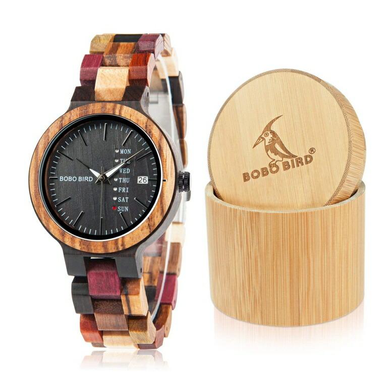 ボボバード BOBO BIRD ウッドウォッチ 木製腕時計 男女兼用 腕時計 ユニセックス ウォッチ クロノグラフ ブラック p14-4 送料無料 【並行輸入品】