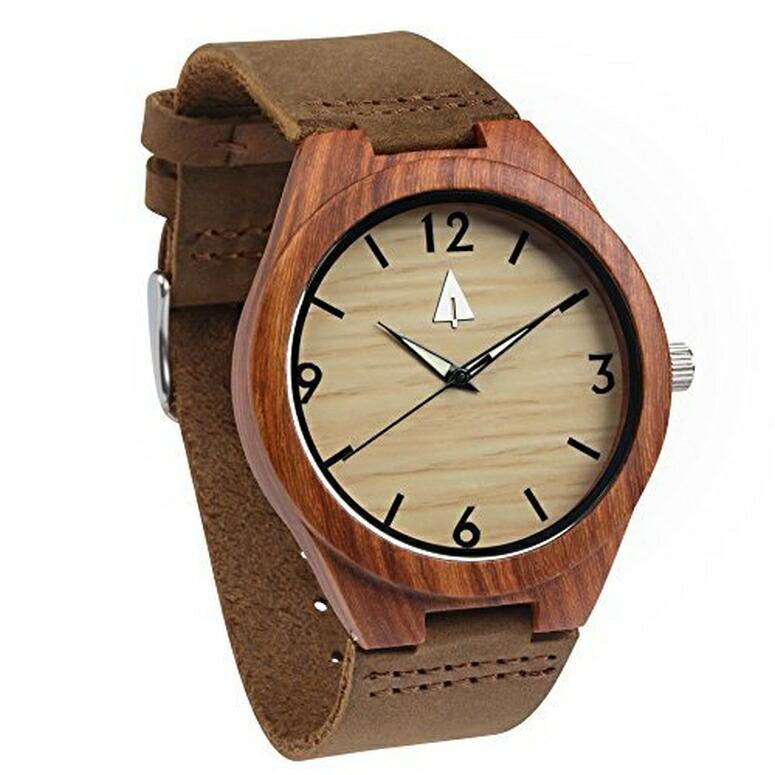 ツリーハット treehut ウッドウォッチ 木製腕時計 男性用 腕時計 メンズ ウォッチ レッド HUT025Brown/brown 送料無料 【並行輸入品】