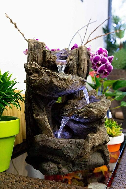 卓上 噴水 滝のオブジェ テーブルトップファウンテン インテリア噴水 Alpine WIN794S Five Tier Rainforest Tabletop Fountain LED 14Inch 送料無料 卓上噴水 インテリア 室内 ファウンテン ミニ噴水 滝 卓上ファウンテン【並行輸入品】