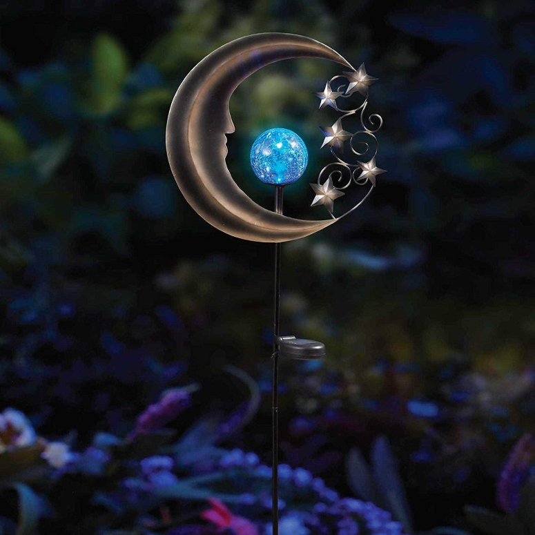 ガーデンライト 月 LEDソーラーライト Innovative Solar Moon Garden Light Stake in Silver/Blue, Beautifully Lights Up Your Garden Up To 8 Hours 送料無料 【並行輸入品】