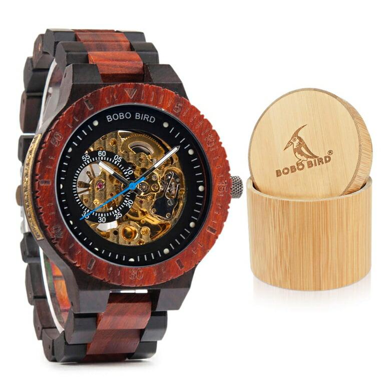 ボボバード BOBO BIRD ウッドウォッチ 木製腕時計 男性用 腕時計 メンズ ウォッチ ブラック レッド R05-2 送料無料 【並行輸入品】
