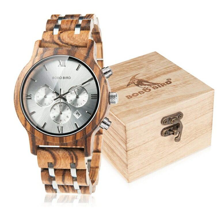 ボボバード BOBO BIRD ウッドウォッチ 木製腕時計 男性用 腕時計 メンズ ウォッチ クロノグラフ シルバー WP19-2 送料無料 【並行輸入品】
