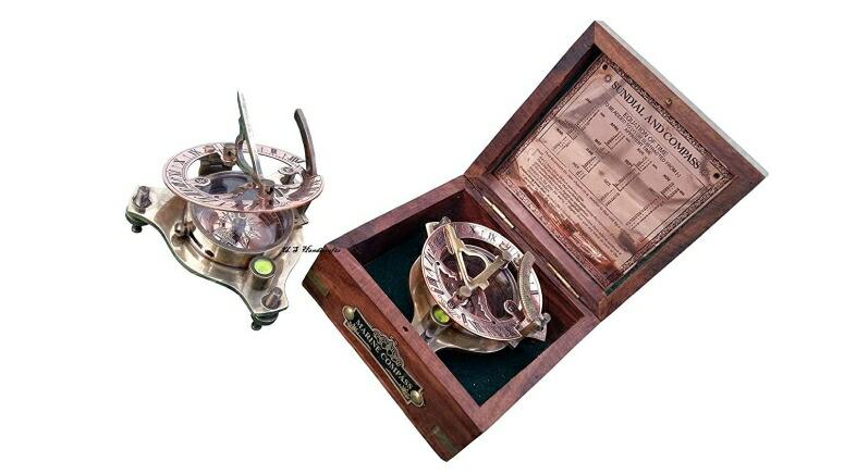 真鍮製 日時計 コンパス 真ちゅう サンダイアル US HANDICRAFTS Vintage Marine WEST London Antique 2.5