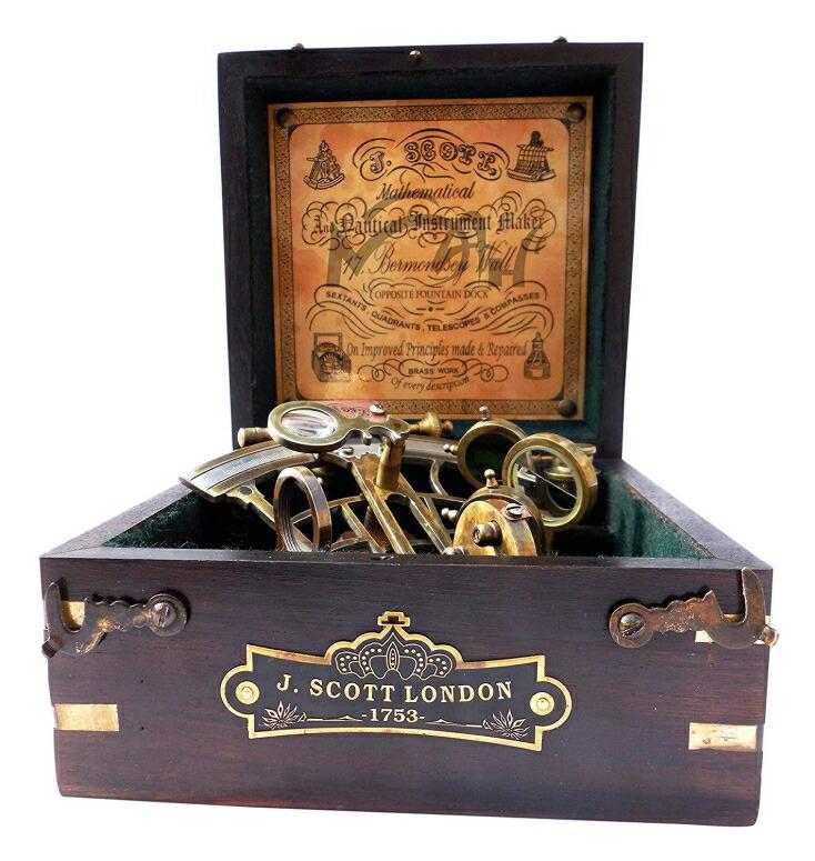 六分儀 真鍮製 真ちゅう 天体観測器機 SIXTANT MAH Brass Ship History Sextant with Hardwood Box. C-3082 送料無料 【並行輸入品】