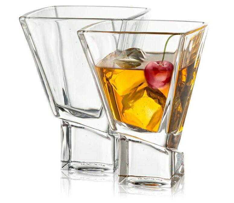 Joyjolt クリスタル グラスセット ジョイジョルト デカンタ デキャンタ JoyJolt Carre 2-Piece Cocktail Glasses Set, 8 Ounce Martini Glasses 送料無料 【並行輸入品】