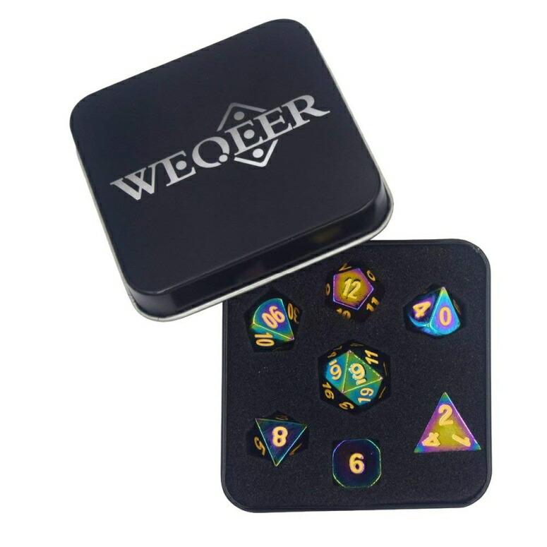 多面体ダイスセット ウォーゲーム TRPG テーブルトーク DND に WEQEER RPG Metal Dice Set - 7 Rainbow Color Dice with 黒 Tin 送料無料 【並行輸入品】
