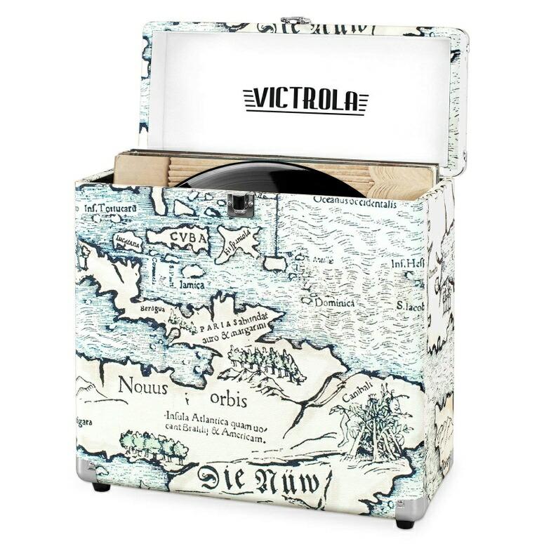 ヴィクトリア ヴィンテージ ビニールレコード ストレージ キャリングケース 30枚用 古地図 レトロマップ 送料無料 【並行輸入品】