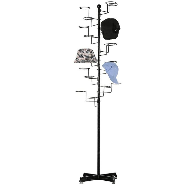 帽子スタンド キャップ ラック ハット ディスプレイ Modern Black Metal Freestanding Customizable Retail Hat Rack/Wig Display Stand w/ 20 Circular Hat Hooks 送料無料 【並行輸入品】