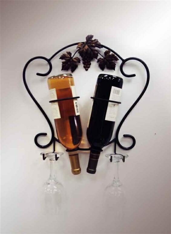 ワインラック J&J Wire 2-Bottle Wine/Glass Holder 送料無料 【並行輸入品】