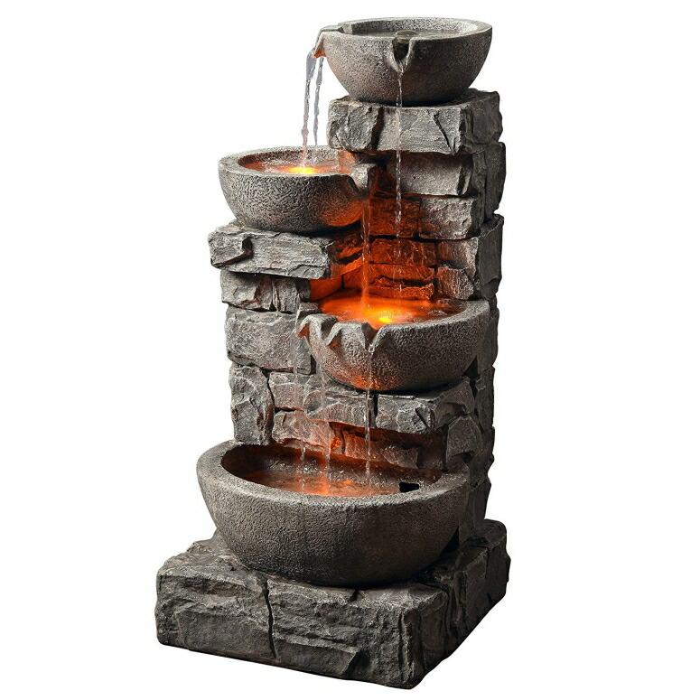 ガーデン 噴水 光るインテリア噴水 置き型 噴水 滝のオブジェ ウォーターフォールファウンテン LED 屋内 屋外兼用 Peaktop - Outdoor Stacked Stone Tiered Bowls Fountain w/ LED Light 送料無料 【並行輸入品】