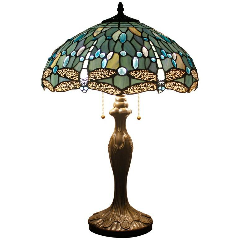 おしゃれなデザイン テーブルランプ Tiffany Style Table Lamp Desk Beside Lamps 24 Inch Tall Sea Blue Stained Glass Shade Crystal Bead Dragonfly 2 Light Antique Zinc Base for Coffee Table Living Room Bedroom S147 WERFACTORY 送料無料 【並行輸入品】