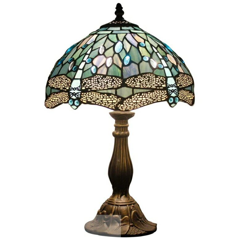 おしゃれなデザイン テーブルランプ Tiffany Lamp Sea Blue Stained Glass and Crystal Bead Dragonfly Style Table Lamps Height 18 Inch for Coffee Table Living Room Antique Desk Beside Bedroom S147 WERFACTORY 送料無料 【並行輸入品】