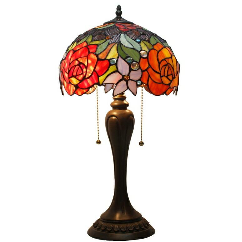 おしゃれなデザイン テーブルランプ Tiffany Lamp Antique Style Stained Glass Table Lamps 24 inch Tall Red Rose Lamp Shade 2 Light for Girlfriend Living Room Kids Bedroom Bedside Dresser Coffee Table S001 WERFACTORY 送料無料 【並行輸入品】