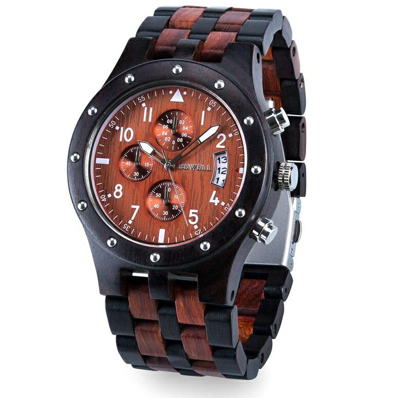 ビーウェル BEWELL ウッドウォッチ 木製腕時計 男性用 腕時計 メンズ ウォッチ レッド 109D-BKRD-ZS 送料無料 【並行輸入品】
