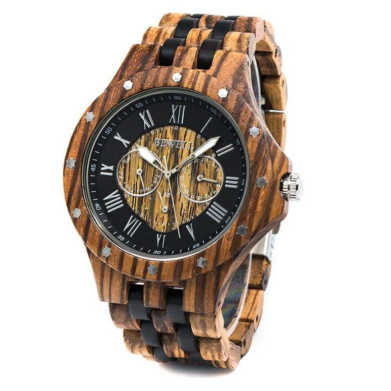 ビーウェル BEWELL ウッドウォッチ 木製腕時計 男性用 腕時計 メンズ ウォッチ ブラック ブラウン w116C 送料無料 【並行輸入品】