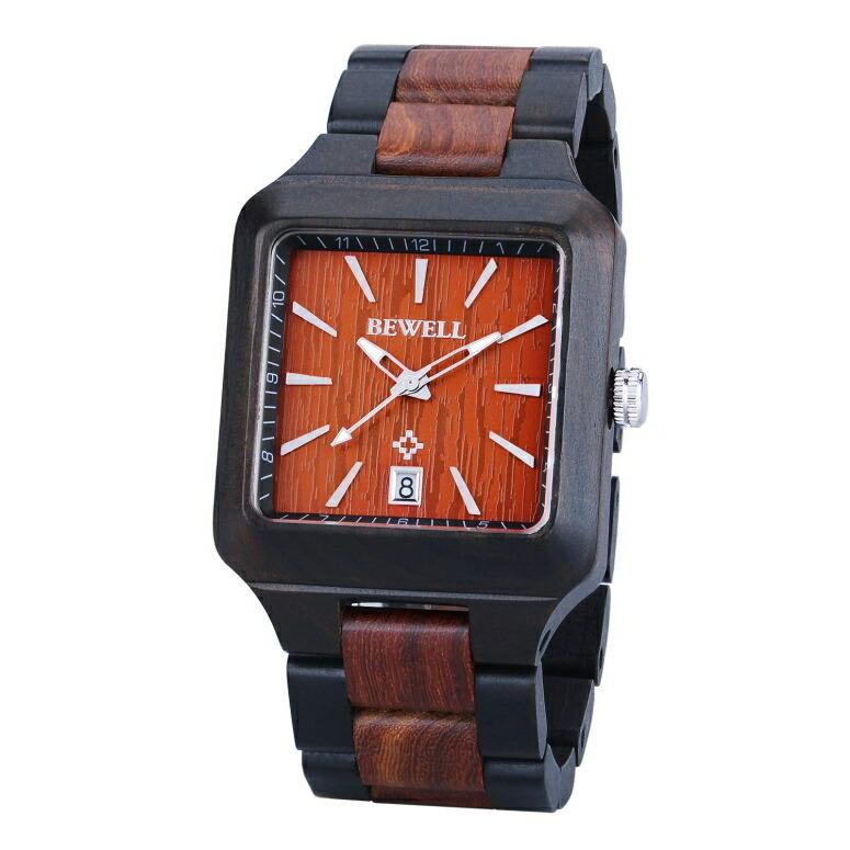 ビーウェル BEWELL ウッドウォッチ 木製腕時計 男性用 腕時計 メンズ ウォッチ レッド W110A-BKRD 送料無料 【並行輸入品】