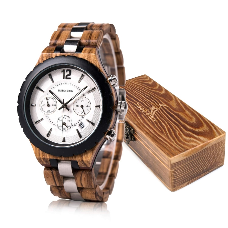 ボボバード BOBO BIRD ウッドウォッチ 木製腕時計 男性用 腕時計 メンズ ウォッチ クロノグラフ ホワイト R22 送料無料 【並行輸入品】
