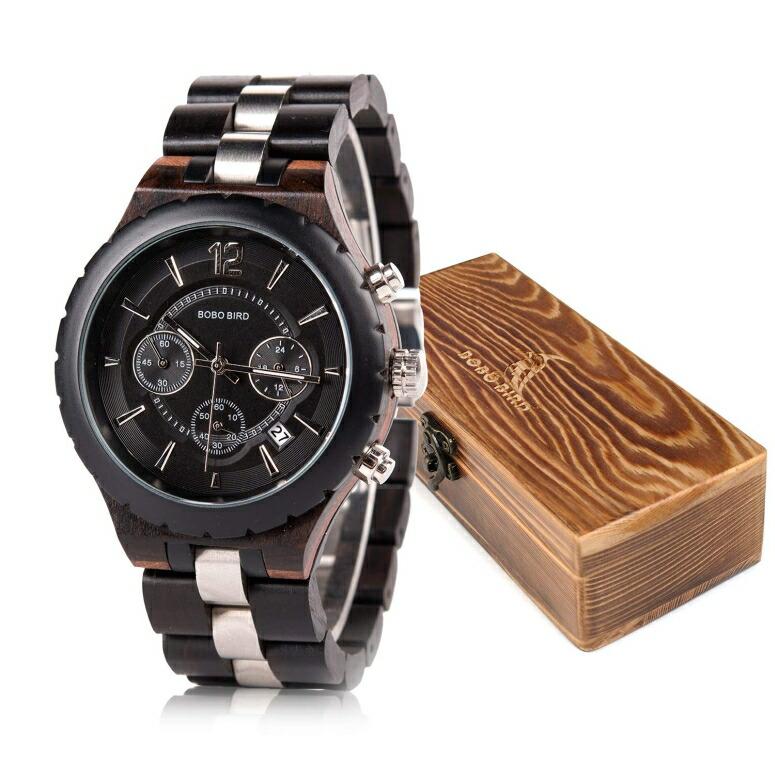 ボボバード BOBO BIRD ウッドウォッチ 木製腕時計 男性用 腕時計 メンズ ウォッチ クロノグラフ ブラック R22 送料無料 【並行輸入品】