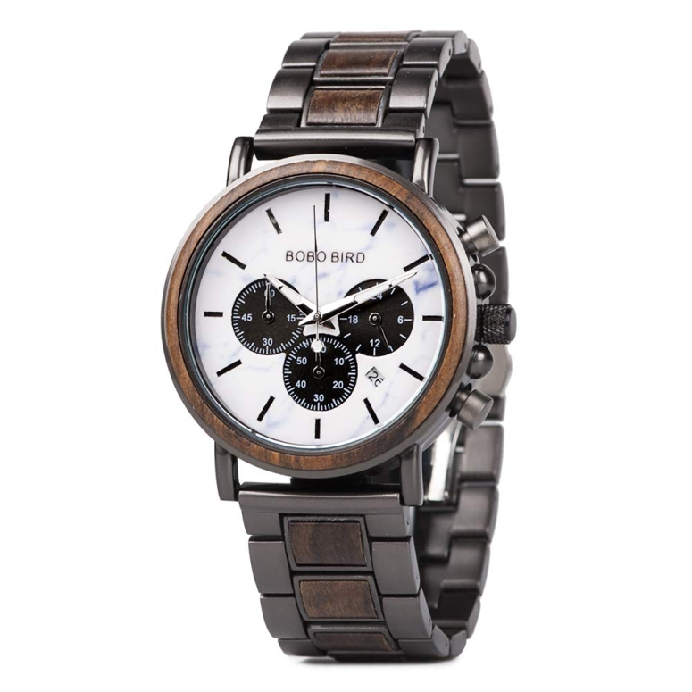 ボボバード ストアー 開催中 BOBO BIRD 腕時計 ウォッチ 時計 ウッドウォッチ 木製腕時計 メンズ 送料無料 ホワイト 並行輸入品 男性用 Q26-1a クロノグラフ