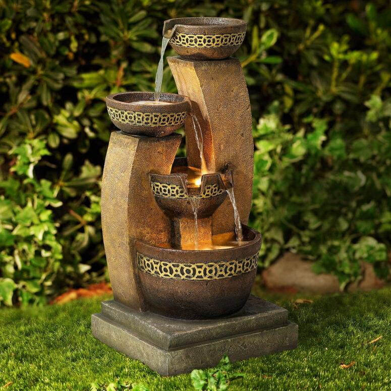 ガーデン 噴水 インテリア噴水 置き型 噴水 滝のオブジェ ウォーターフォールファウンテン John Timberland Outdoor Water Fountain Four Bowl Cascading Waterfall 41