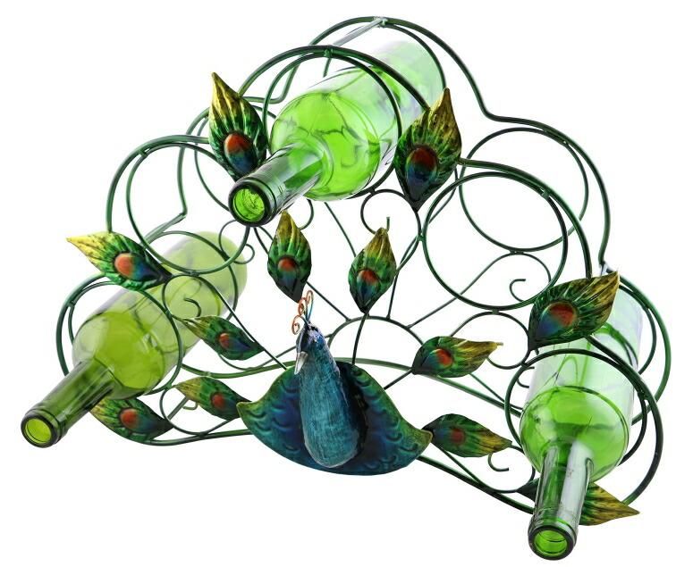 卓上ワインホルダー 孔雀 ピーコック くじゃく グリーン 緑 Wine Bodies Peacock Feather Five Single Metal Wine Bottle Rack Holder Caddy Bar Accessories Home Decor 送料無料 【並行輸入品】