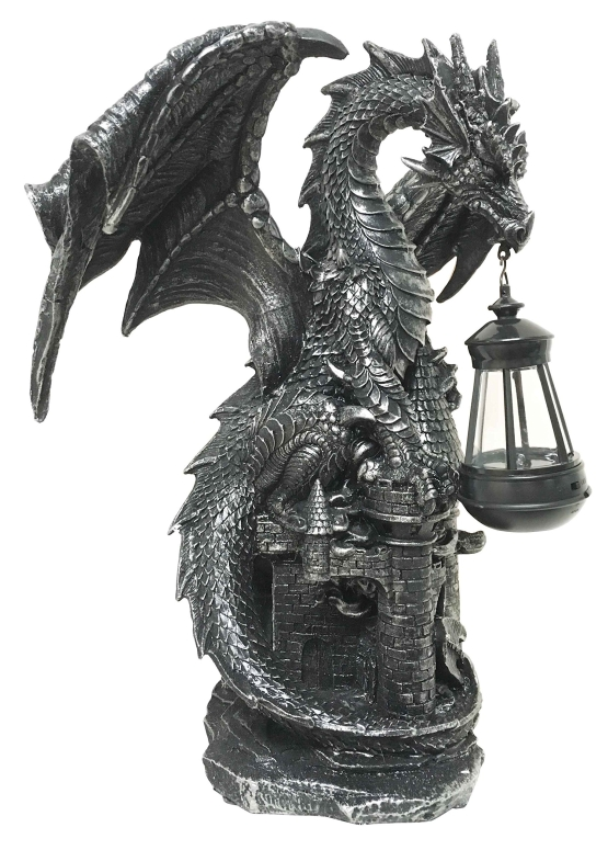 ガーデンライト ドラゴン 龍 竜 Ferocious Dark Beacon Dragon Guardian of Styx Castle Gate Statue With Solar LED Light Patio Pathways and Indoor Night Light 送料無料 【並行輸入品】