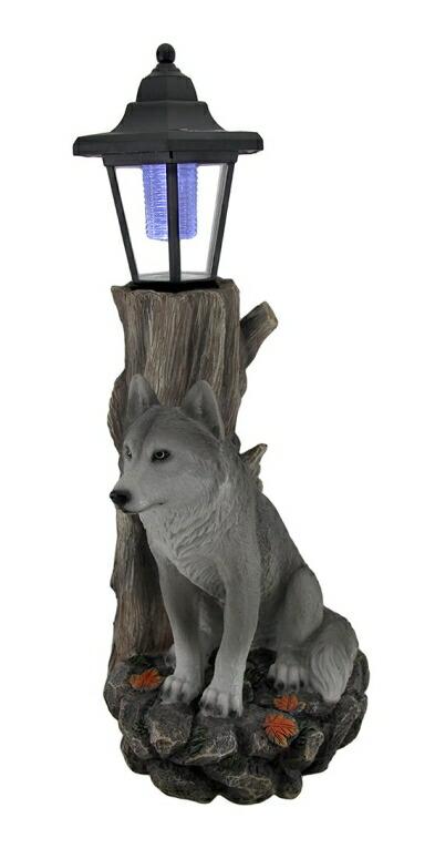 ガーデンライト 狼 ウルフ Zeckos Watchful Wolf Sculptural Solar Lantern Statue 送料無料 【並行輸入品】