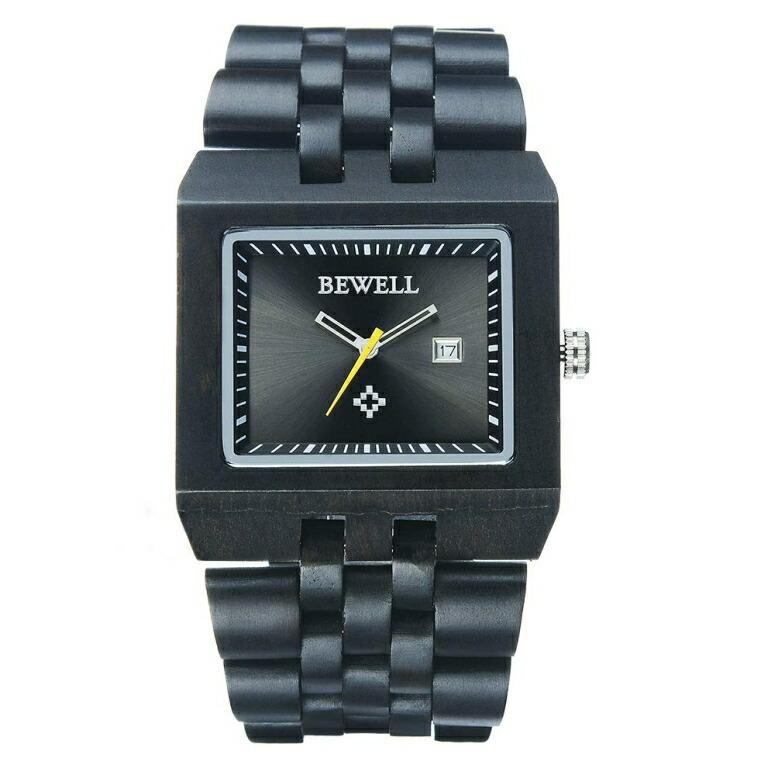 ビーウェル BEWELL ウッドウォッチ 木製腕時計 男性用 腕時計 メンズ ウォッチ ブラック W017A-BK 送料無料 【並行輸入品】