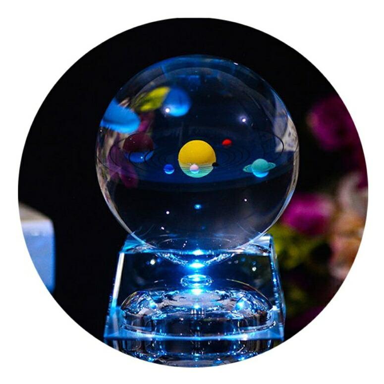 太陽系 LED ランプ クリスタルボール クリア 3D Crystal Ball with Solar System model and LED lamp Base, Clear 80mm (3.15 inch) Solar System Crystal Ball, Best Birthday Gift for Kids, Teacher of Physics, Girlfriend Gift, Classmates and 送料無料 【並行輸入品】