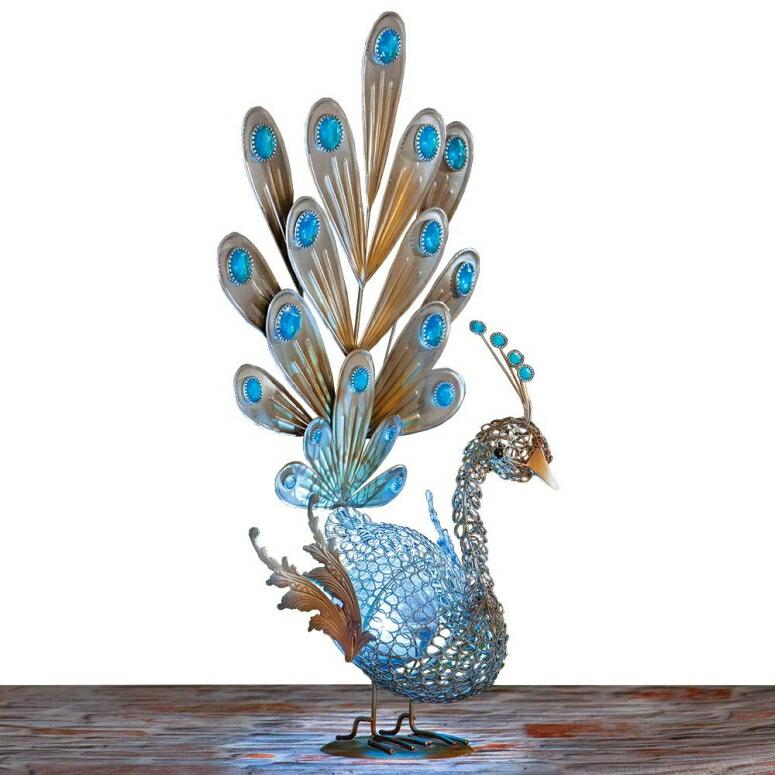 ガーデンライト 孔雀 クジャク ピーコック Bits and Pieces-Solar Peacock Metal Sculpture-Very Beautiful Garden Sculpture Garden Decor Polyresin Statue Yard Art - Animal Statue Solar Peacock - Peacock Measures 22