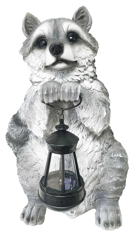ガーデンライト LEDソーラーライト アライグマ Ebros Night Bandit North American Raccoon Statue Holding Solar Powered Lantern LED Light Patio Decor Indoor Outdoor Raccoon 送料無料 【並行輸入品】