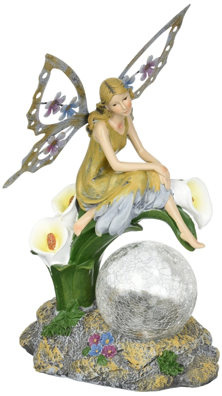 妖精 ガーデンライト LED ソーラーライト フェアリー 置き型 ピクシー 幻想的 かがり火 明かり 夜 灯 絵本 ガーデニング ライト Solaration8482; Fairy on Calla Lilies Solar Light with Crackle Glass Globe, 11-Inch 送料無料 【並行輸入品】