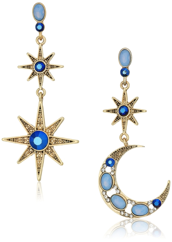 ベッツィジョンソン イヤリング Betsey Johnson Mystic Baroque Queens Blue and Gold Moon and Star Drop Earrings 送料無料 【並行輸入品】