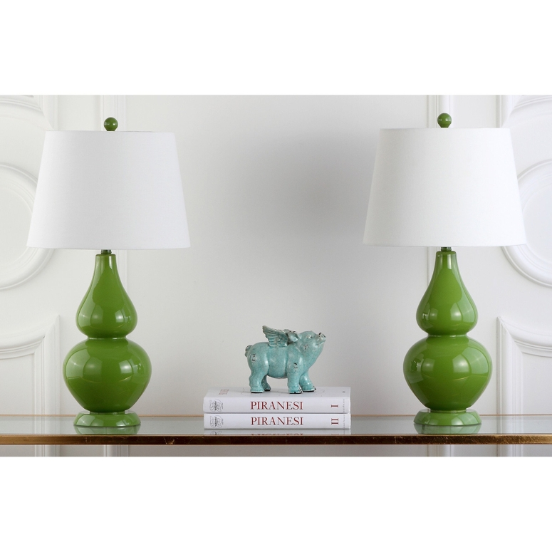 safavieh おしゃれなデザイン テーブルランプ Safavieh Lighting Collection Cybil Double Gourd Table Lamp, Fern Green, Set of 2 送料無料 【並行輸入品】