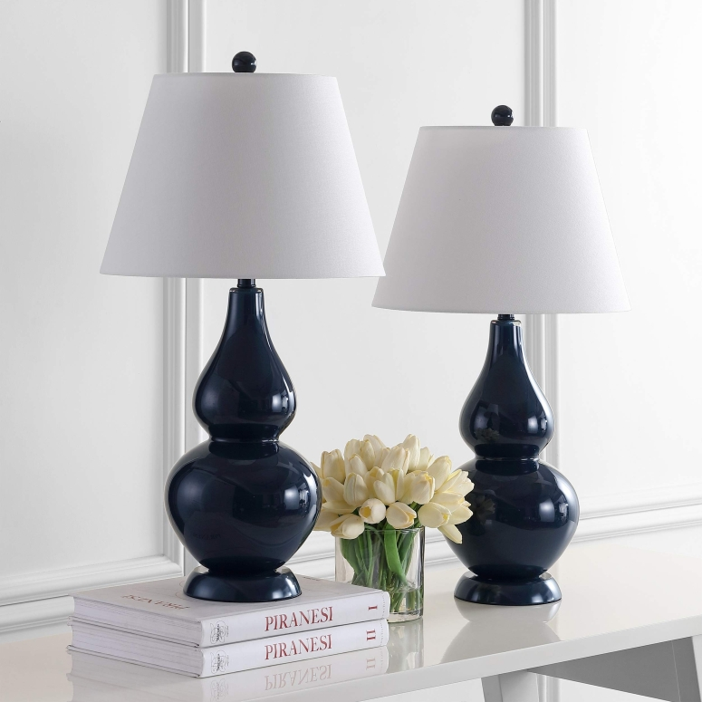 safavieh おしゃれなデザイン テーブルランプ Safavieh Lighting Collection Cybil Navy Double Gourd 26.5-inch Table Lamp (Set of 2) 送料無料 【並行輸入品】