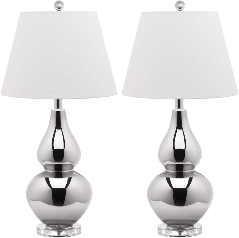 safavieh おしゃれなデザイン テーブルランプ Safavieh Cybil Double Gourd Lamp, Set Of 2, Silver Neck With Silver Shade 送料無料 【並行輸入品】