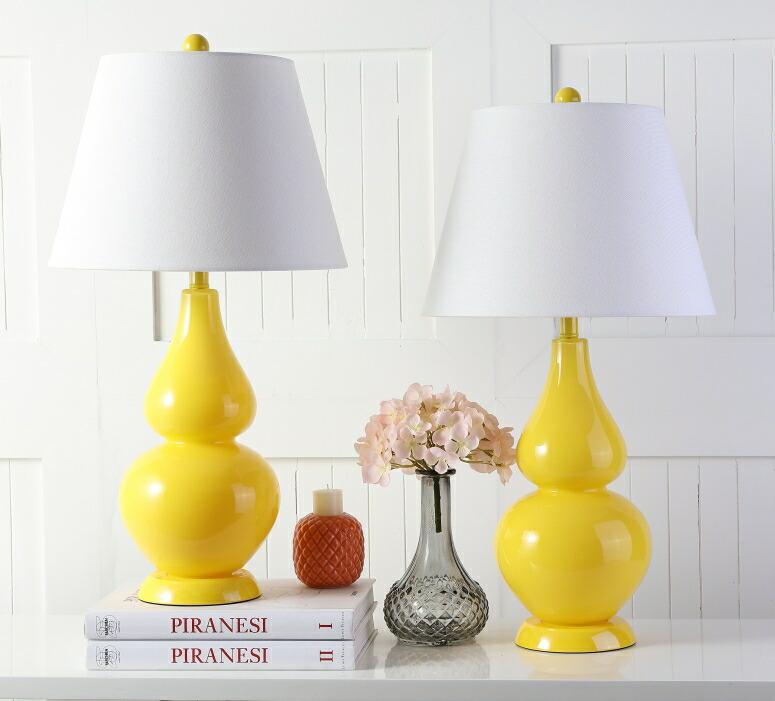 safavieh おしゃれなデザイン テーブルランプ Safavieh Lighting Collection Cybil Yellow Double Gourd 26.5-inch Table Lamp (Set of 2) 送料無料 【並行輸入品】