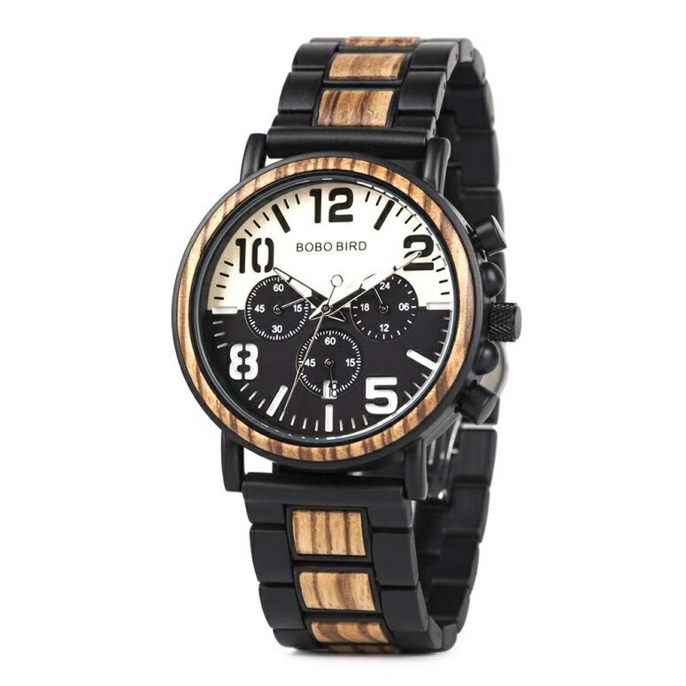 ボボバード BOBO BIRD ウッドウォッチ 木製腕時計 男性用 腕時計 メンズ ウォッチ クロノグラフ ブラック ホワイト R25 送料無料 【並行輸入品】