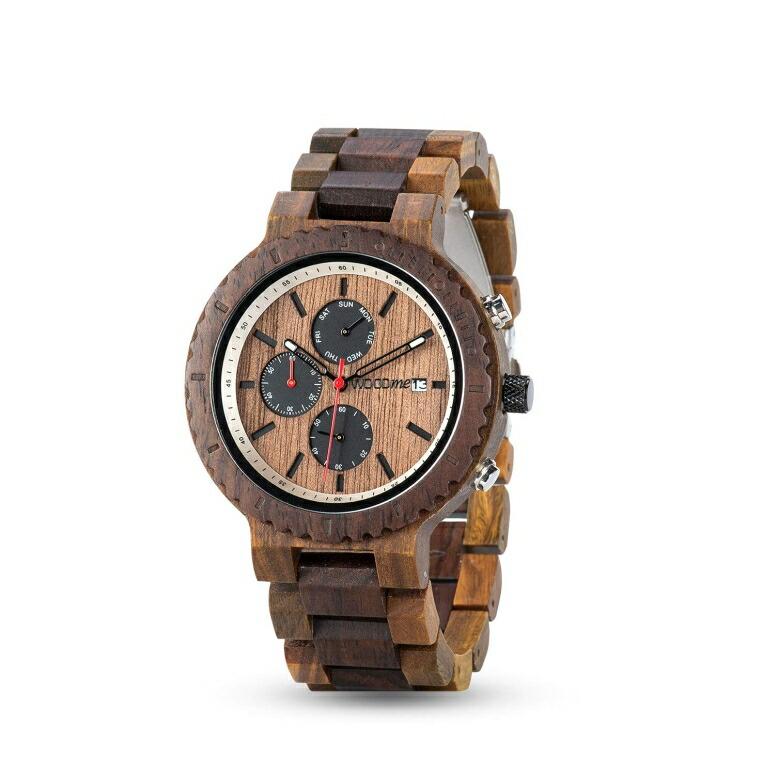 ウッドミー WOODME ウッドウォッチ 木製腕時計 男性用 腕時計 メンズ ウォッチ クロノグラフ ブラウン R21 送料無料 【並行輸入品】