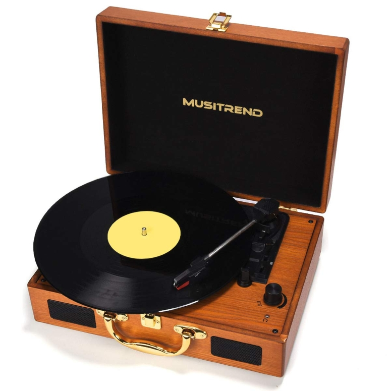 アナログ レコードプレイヤー Musitrend Record Player Vinyl Turntable 3 Speed Vintage Record Players with Stereo Speaker Belt Driven Portable Record Player Suitcase 送料無料 【並行輸入品】