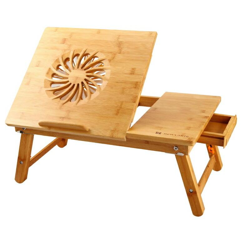 ノートPC用デスク ラップトップ机 竹製 USBファン搭載 ベッドルームに Laptop Desk Nnewvante Adjustable Laptop Desk Table 100% Bamboo with USB Fan Foldable Breakfast Serving Bed Tray w' Drawer 送料無料 【並行輸入品】